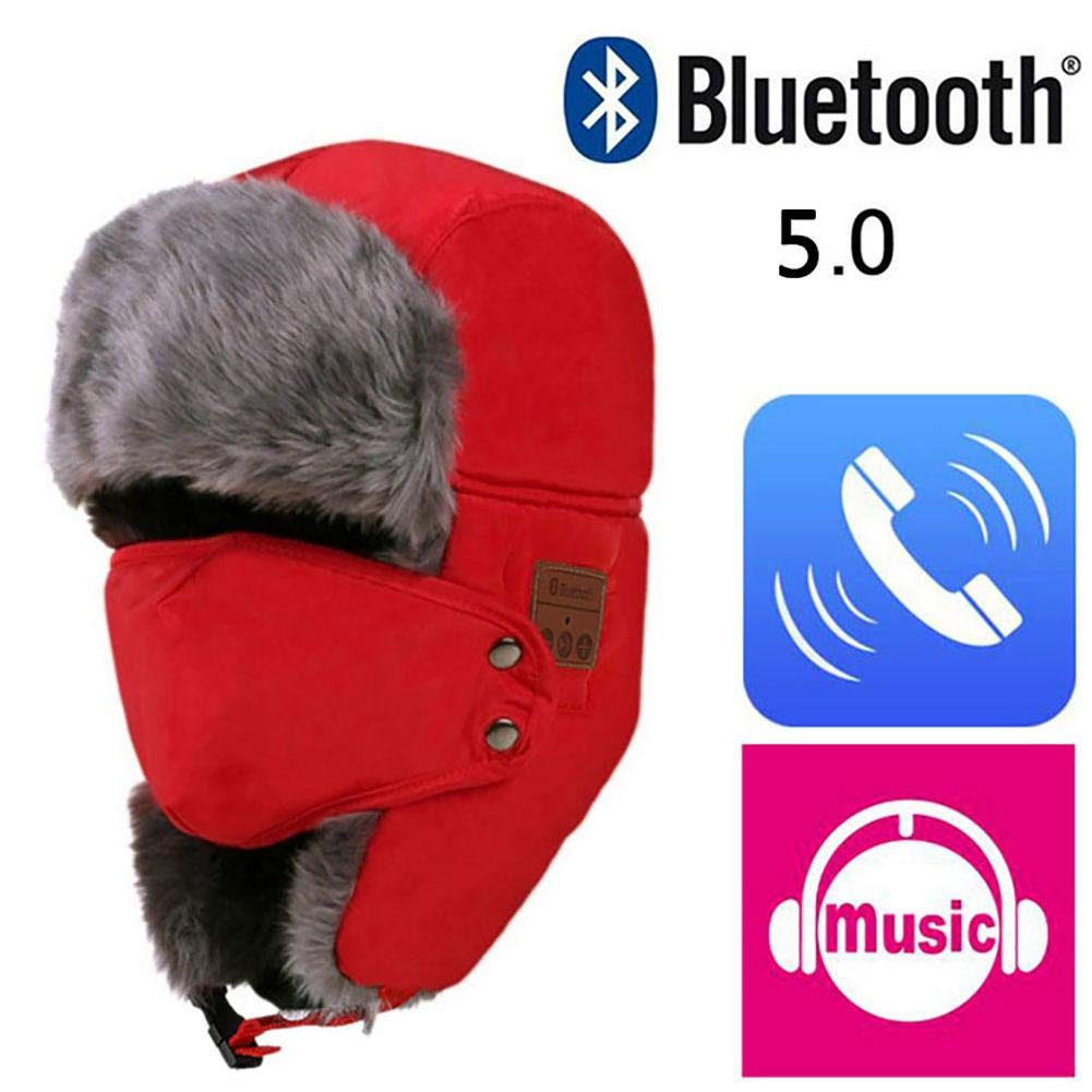 Bluetooth Beanie Music Hat, Bluetooth 5.0 Wireless Windproof and Snow Proof Headset Music Headgear Cap Unisex Winter Fleece Warm Hats Detachable Face Mask Ear Flaps LIJUMN