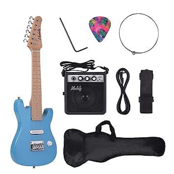 Muslady Kit de Guitarra Eléctrica ST para Niños 28 pulgadas Mástil de Arce Cuerpo de Paulownia: Amazon.es: Instrumentos musicales