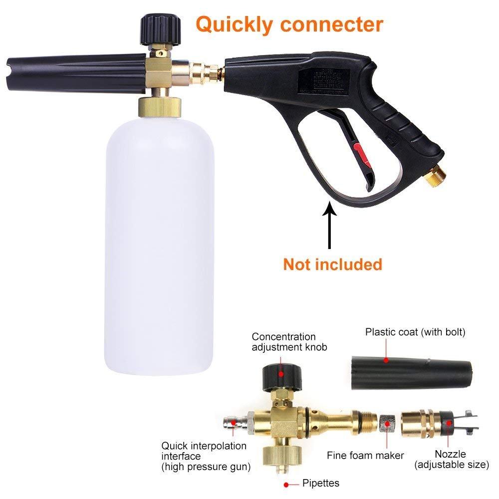 AYOGU Foam Cannon Adjustable Snow Foam Lance with 1/4 Quick Connector Foam Blaster for Pressure Washer Gun 1 Liter Bottle,5 Pressure Washer Nozzles for Cleaning (Foam Cannon with 5 Nozzles) by AYOGU (Image #4)