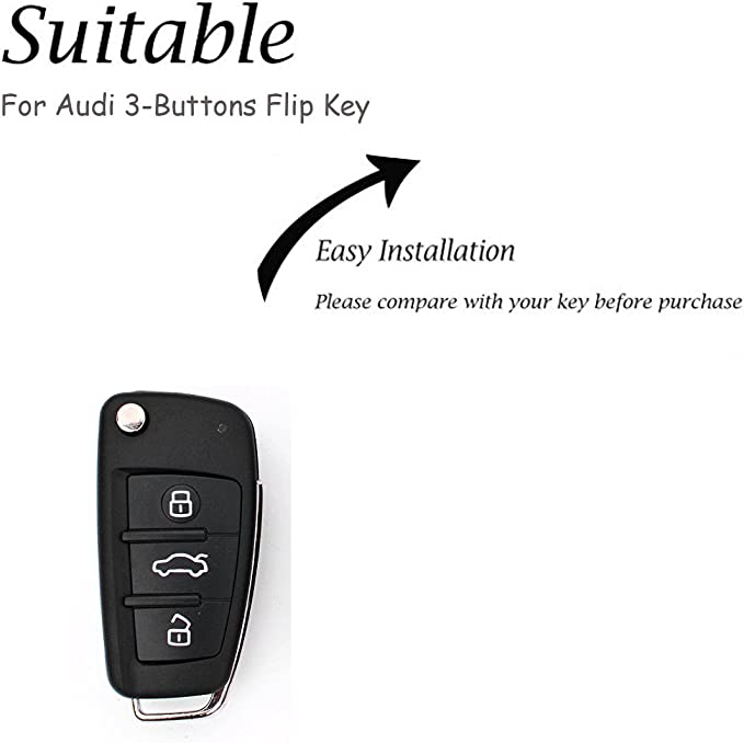 Black KMT Silicone Car Remote Key Fob Case Holder Cover Compatible with Audi A1 A3 Q3 Q7 R8 A6L TT Flip Key Pack of 1