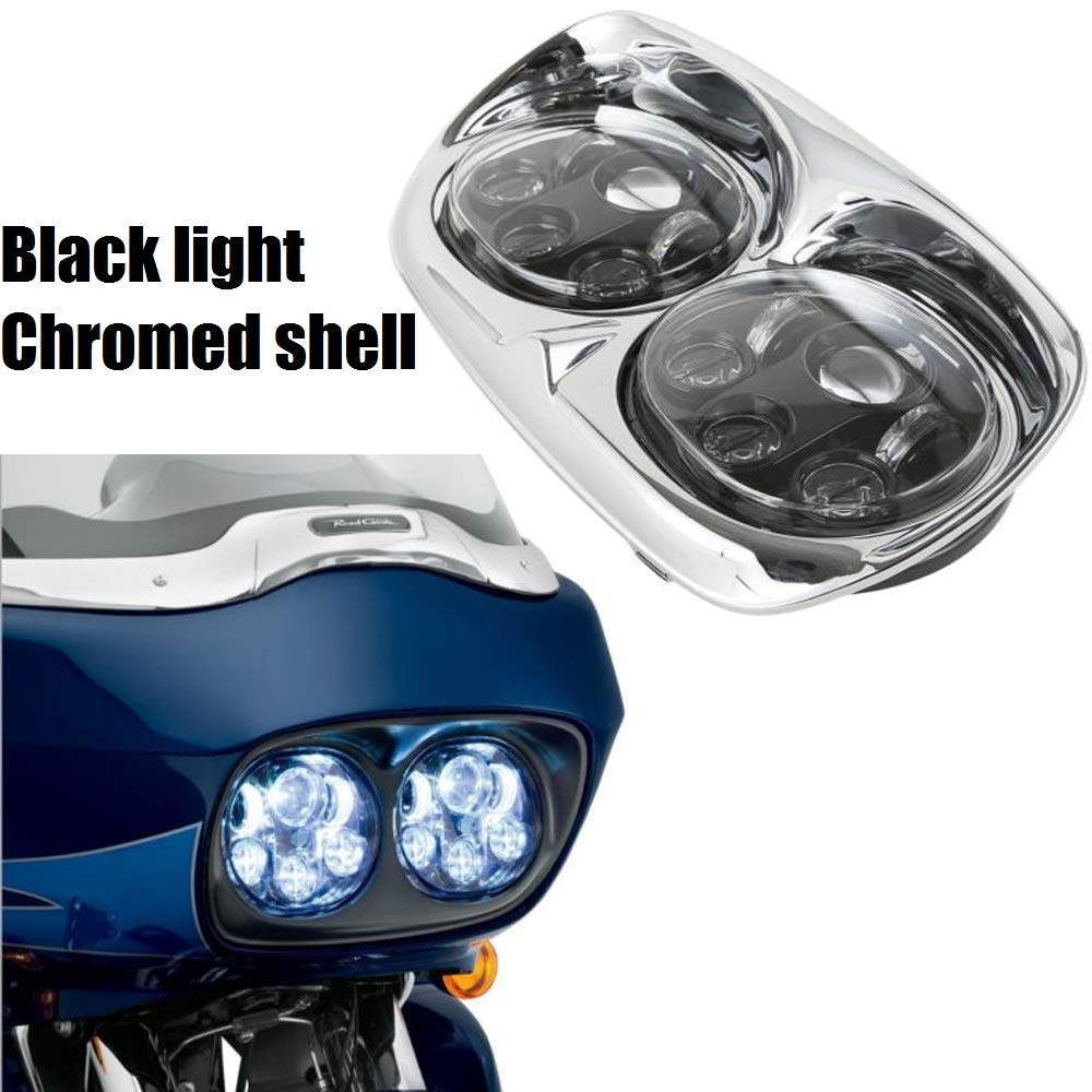 Chrome 5-3/4'' LED Headlight Projector Daymaker Lamp For Harley Road Glide 98-13