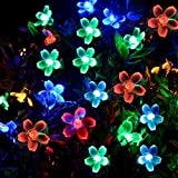 [50 Led] Outdoor Solar String / Fairy Blossom Lights, 8 Mode(Steady, Flash) Waterproof Outside Lighting Decoration for Patio, Garden, Yard, Porch, Fence, Christmas Tree (Multi Color)