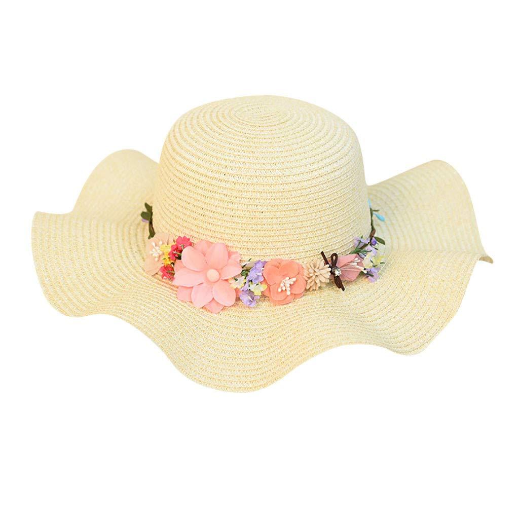 FEDULK Women Sun Beach Straw Hat Jazz Sunshade Big Wide Brim Elegant Panama Fedora Hat Wreath Cap(Beige, One Size)
