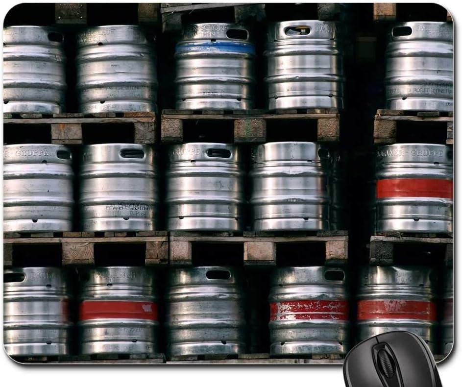 25X30cm Alfombrilla Mouse Pad - Cerveza Barriles de Cerveza Metal Pequeños barriles de Cerveza Alimentos Bebidas