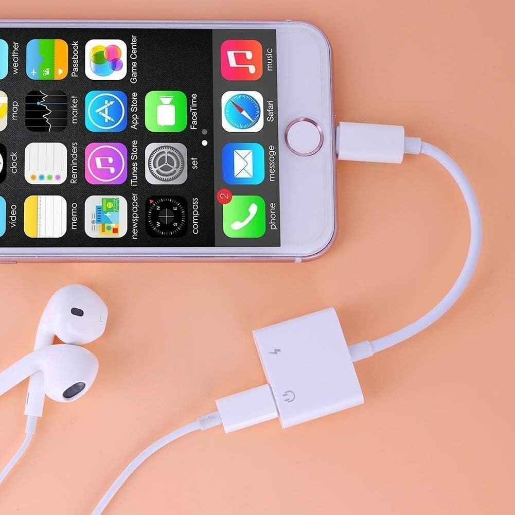 7 Plus 8 Adaptador de Conector para Auriculares iPhone Compatible con 10.3 o Superior X 8 Plus Cargador a Adaptador Auxiliar de M/úsica + Carga + Control de Volumen
