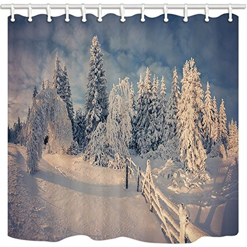 HiSoho Winter Shower Curtain, Village Grange Nature Snow Mountain Fir Tree Wooden Fence, Resistant Polyester Fabric Waterproof, Bathroom Shower Curtain Set with Hooks, 71X71in