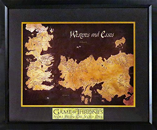 "Game Of Thrones Westeros & Essos Map Display (w/ ""YOU WIN OR YOU DIE"" Plate) Framed"