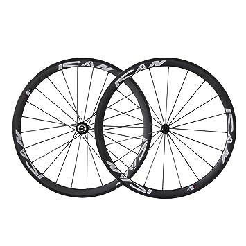 ICAN 700C Ligero Bicicleta de Carretera Carbono Rueda de Ruedas remachador Shimano 10/11 Velocidad sólo 1420g: Amazon.es: Deportes y aire libre