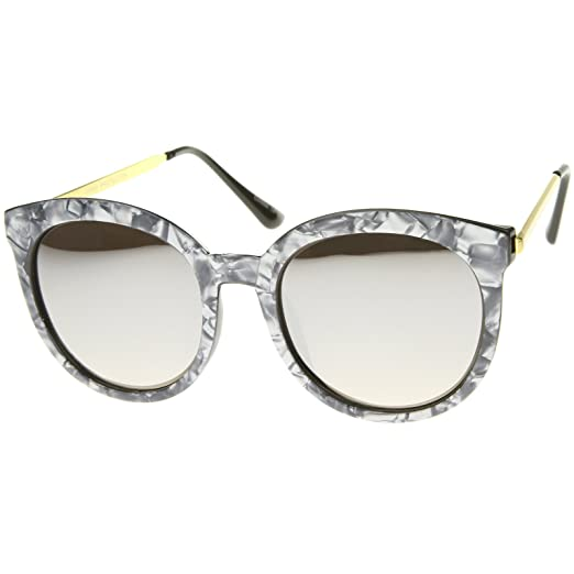 7198a44ab953c zeroUV Womens Oversized Marble Finish Metal Temple Mirrored Lens Round  Sunglasses