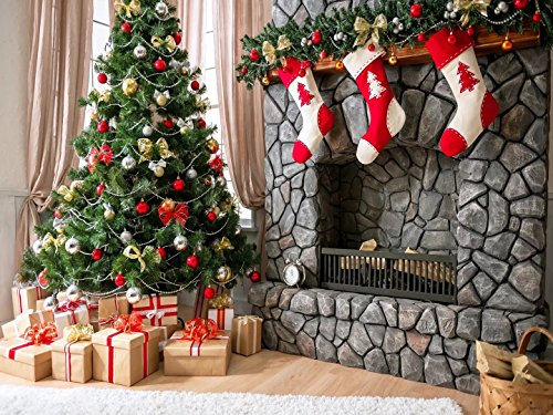 10x6.5ft(3x2m) Pon the Christmas Tree and Three little Socks Fireplace Photographer Backgrounds no Wrinkle Backdrops wdcxm001 -
