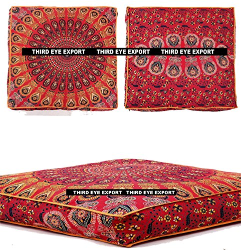 Third Eye Export - Indian Mandala Floor Pillow Square Ottoman Pouf Daybed Oversized Cushion Cover Cotton Seating Ottoman Poufs Dog/Pets Bed (Red) by Third Eye Export