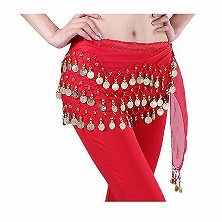 RONSHIN - Falda para Danza del Vientre Rojo: Amazon.es: Hogar