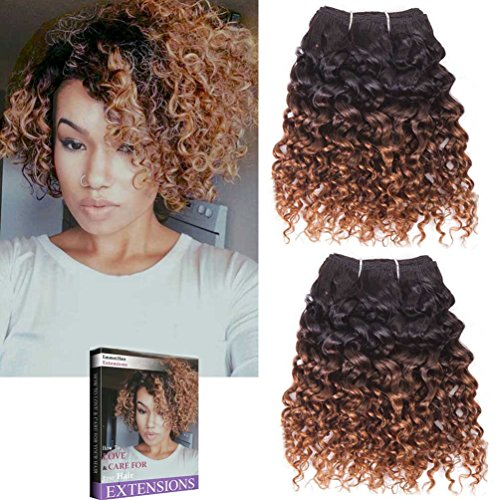 Emmet 2pcs/lot 100g Short Wave 8Inch Brazilian Kinky Curly Human Hair Extension, with Hair Care Ebook - Sites Indian Online Purchase