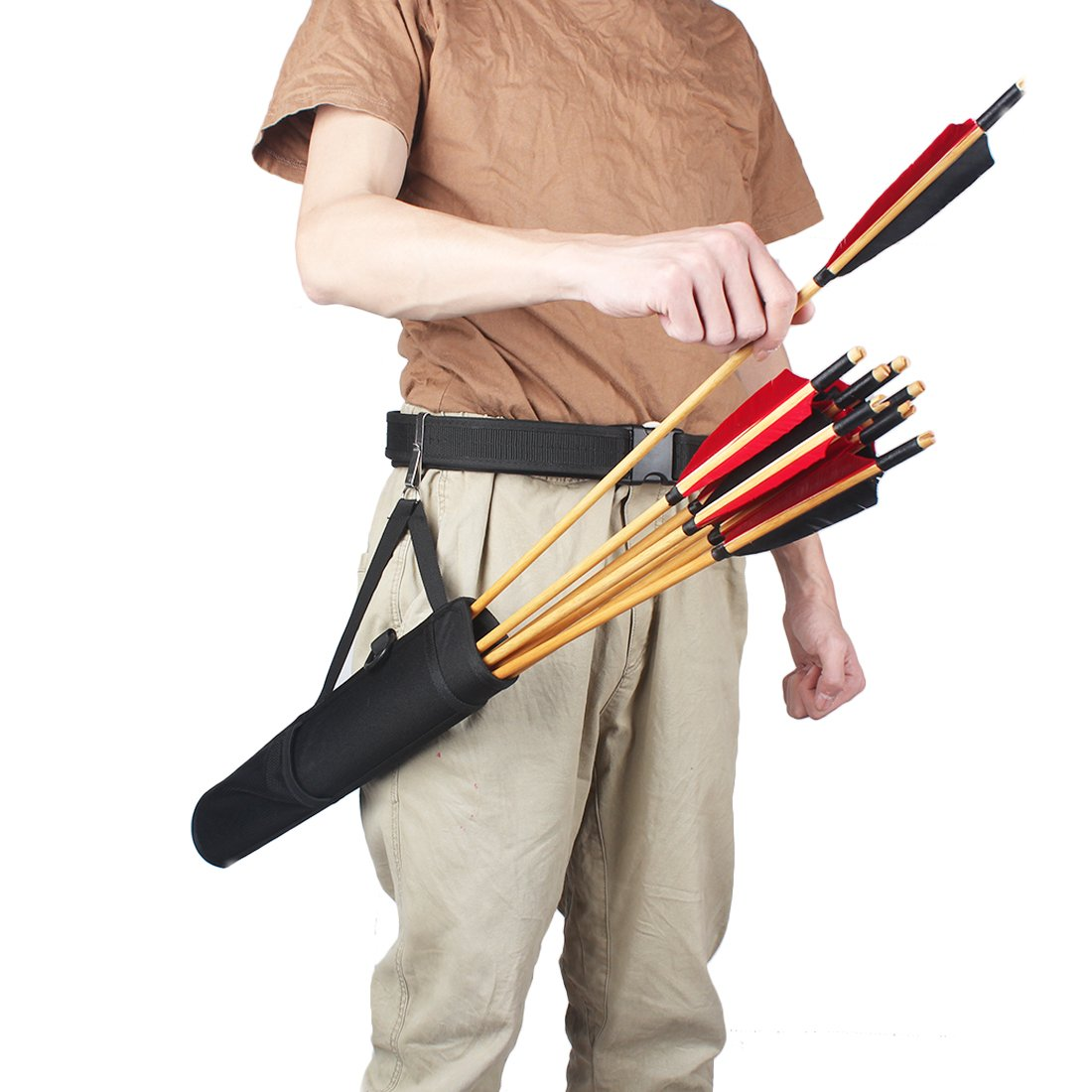 KRATARC Archery Arrows Tube Hip Quiver Waist Hanged Carry Bag (Black- Upgraded version) by KRATARC (Image #8)