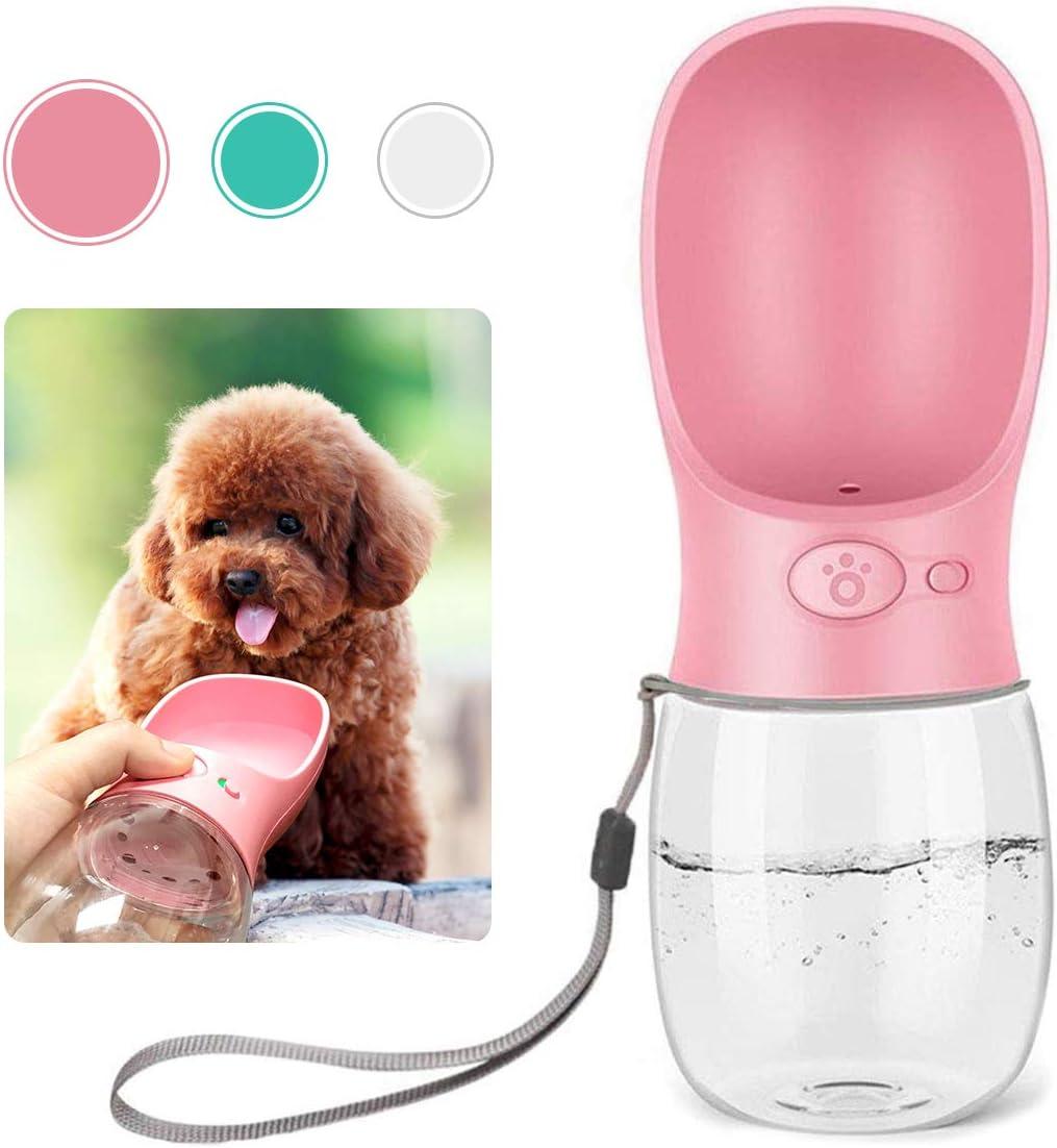 QQPETS Dog Water Bottle for Walking, Dispenser Pet Portable Dogs Cats 12OZ Travel Drink Bottle Bowls BPA Freee,Leak Proof,Food Grade Plastic