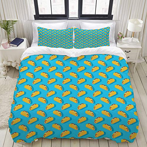 VAMIX Duvet Cover Set, Menu Corn Tortilla with Veggies and Beef Vibrant Lunch Restaurant Delicious, Decorative 3 Piece Bedding Set with 2 Pillow Shams, King Size