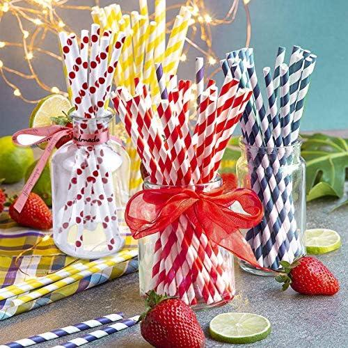 Compleanni 100PCS Cannucce Biodegradabili Bere in Carta Riciclata per Uso Alimentare Matrimoni Celebrazioni per Feste NATUCE Cannucce Di Carta