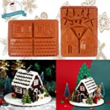 Christmas Gingerbread Silicon 3D House Chocolate Molds Kit, Cookie Candy Make Molds Includes 2 Molds to Create Gingerbread Ho