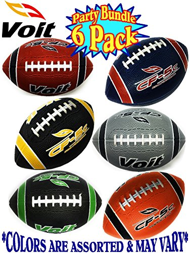 Voit 6 Mini Rubber Inflatable Footballs (Indoor/Outdoor) Gift Set Party Bundle - 6 Pack (Asssorted Colors) Balls Ship Deflated