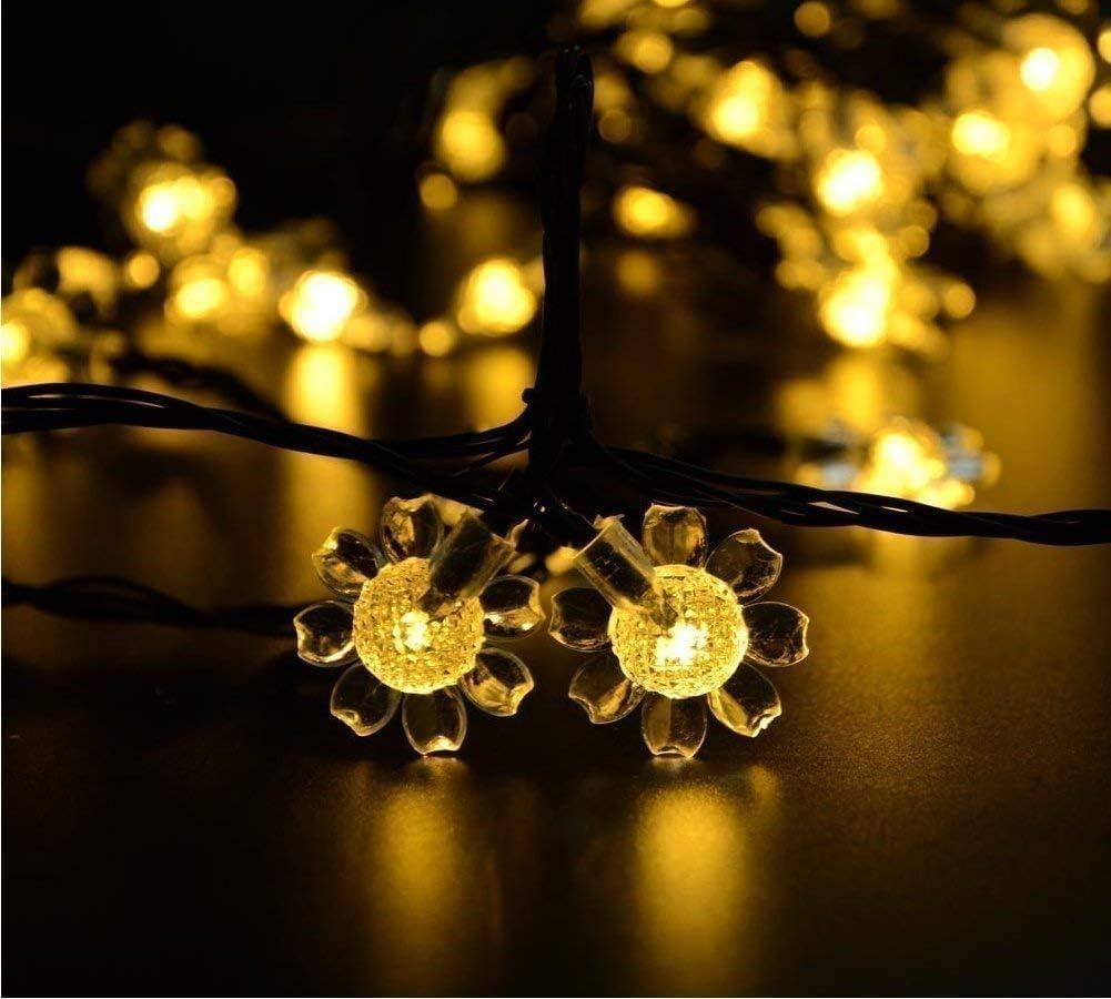 AMZSTAR Solar Sunflower String Lights, 21ft 50 Sunflower LED Christmas Light Waterproof Solar Fairy String Lights for Outdoor, Gardens, Homes, Wedding, Christmas Decoration (Warm White)