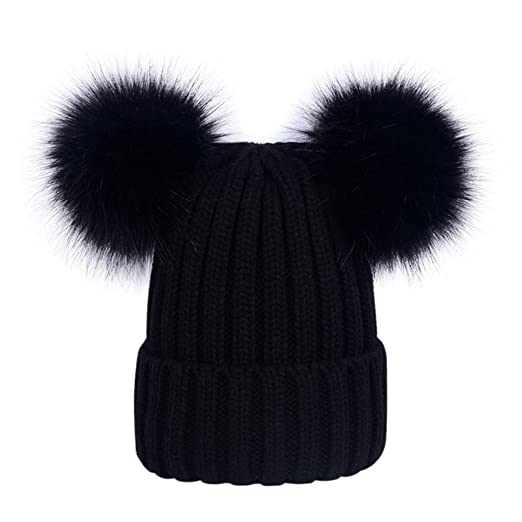 d2a7dd3efea Womens Double Pom Pom Beanie Hat Ladies Faux Fur Ball Winter Hats Black