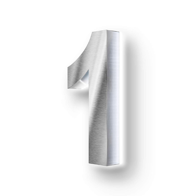 cl/ásico N/úmero para casa de acero inoxidable V2A de Metzler-Trade Plateado 2.00W 12.00V resistente a las salpicaduras con iluminaci/ón LED 3D indirecta de color blanco