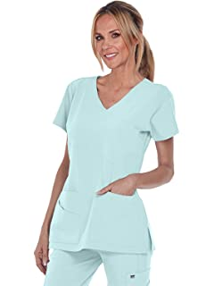 677dc682419 Grey's Anatomy Signature V-Neck Mock Wrap Top for Women - Medical Scrub Top