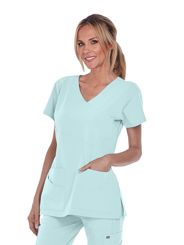 fee20d41d29 Amazon.com: Grey's Anatomy Signature V-Neck Mock Wrap Top for Women -  Medical Scrub Top: Clothing