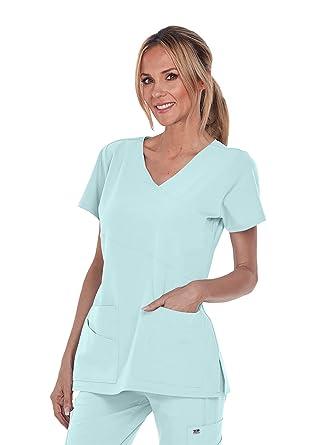 b29f5c5ba8c Amazon.com: Grey's Anatomy Signature V-Neck Mock Wrap Top for Women ...