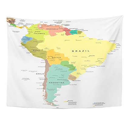 Amazon.com: Emvency Tapestry Central South America Map Paraguay Peru ...