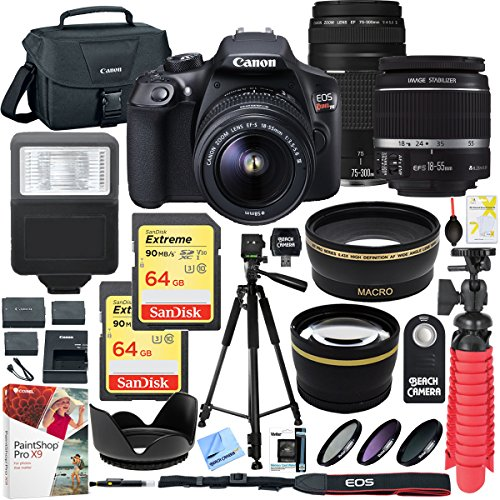 Canon T6 EOS Rebel DSLR Camera with EF-S 18-55mm f/3.5-5.6 IS II and EF 75-300mm f/4-5.6 III Lens and Two (2) 64GB Memory Cards Plus Triple Battery Accessory Bundle from Beach Camera