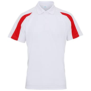 39dc96c5a4be AWDis Just Cool Herren Kurzarm Polo Shirt mit Kontrast Panel (Small)  (Arctic Weiß