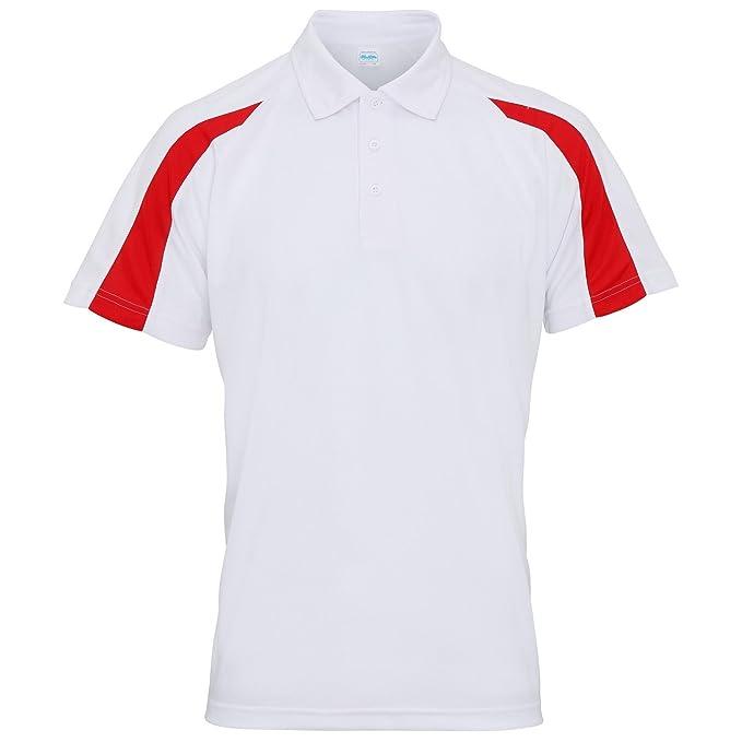 e3591f5f Awdis Just Cool Mens Short Sleeve Contrast Panel Polo Shirt (S) (Arctic  White