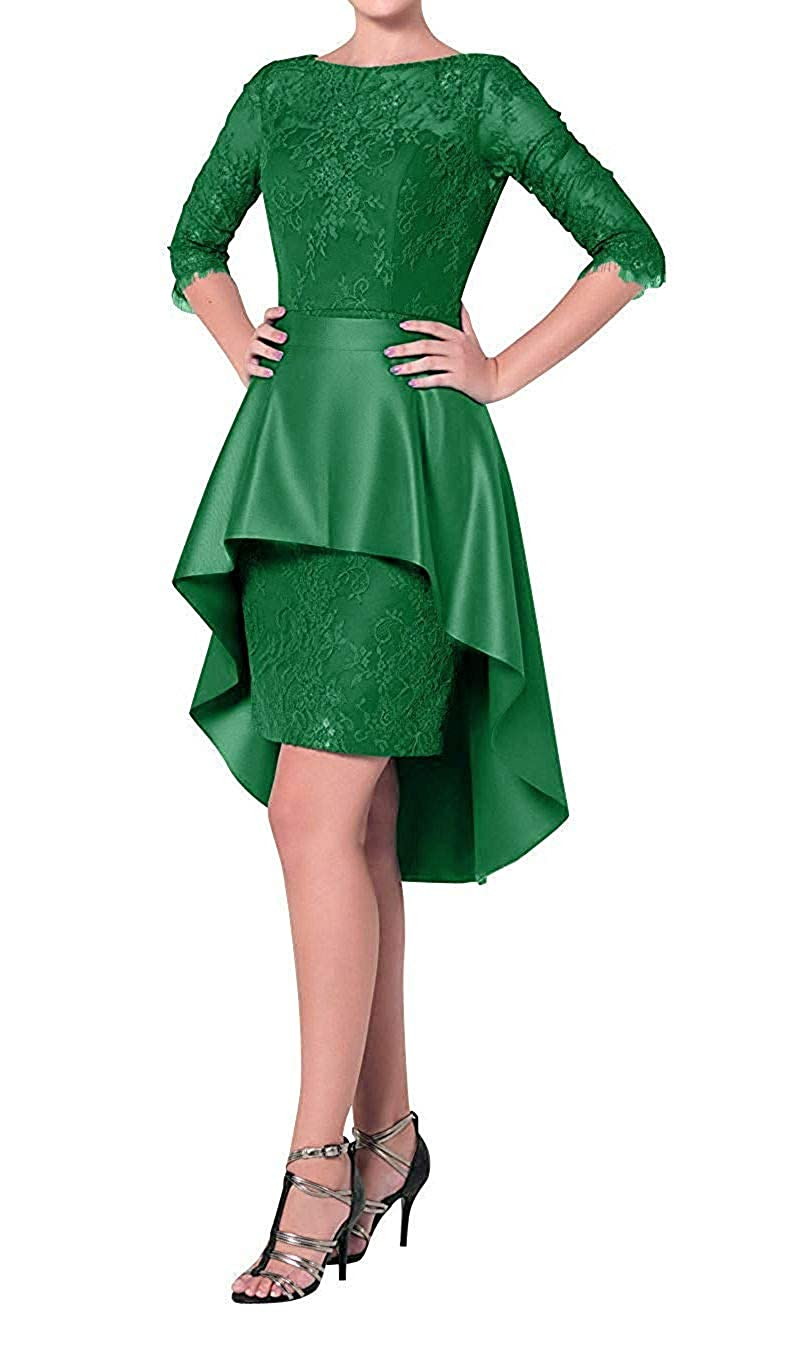 Green ZLQQ Womens Two Piece Lace Sheath Mother of The Bride Dress Tea Length Evening Gowns