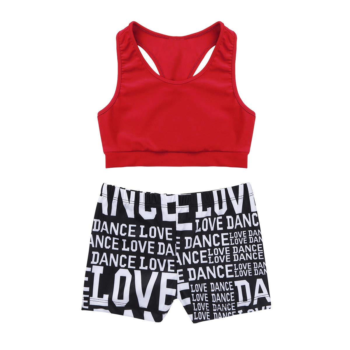iiniim Kids Girls Racer Back Crop Top and Love Dance Athletic Booty Shorts Set for Sports Workout Swimming