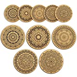 Cork Coasters For Drinks Absorbent and Reusable by Teivio - 4 Inches Perfect for Most Kind of Glasses - 1/5'' Thick Mandala Style - Set of 10