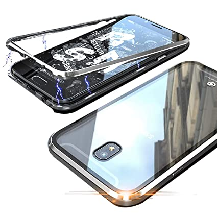 Magnetic Case for Samsung Galaxy J7 Pro,Clear Tempered Glass Back Cover   Magnets Metal d450caf8600f