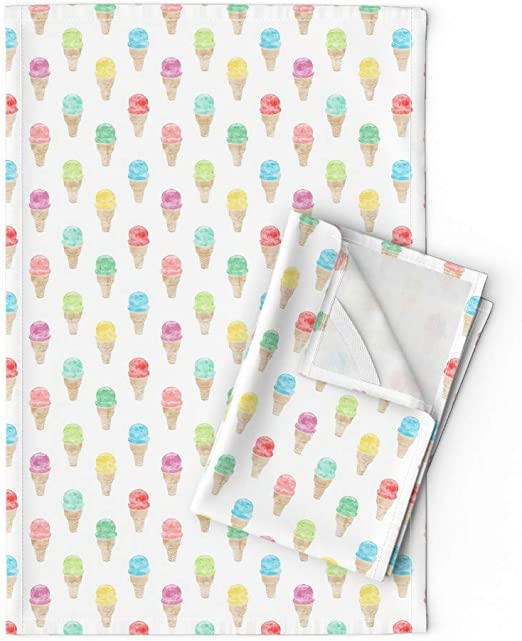 Ice Cream  Food Watercolor Summer Linen Cotton Tea Towels by Roostery Set of 2