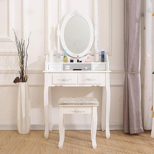 BOJU - Mesa de tocador de Maquillaje con Espejo y 4/5/7 cajones y ...