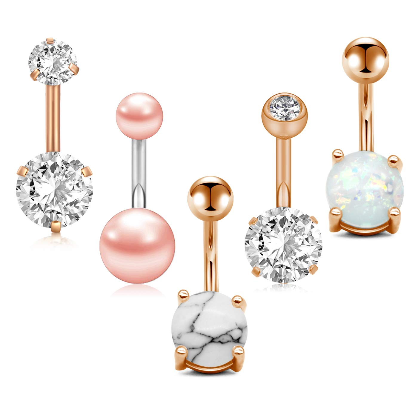 Zolure 14g Rose Gold Belly Button Rings Surgical Steel Short Belly Ring Navel Rings Diamond Opal Cz Pearl Marble 5pcs