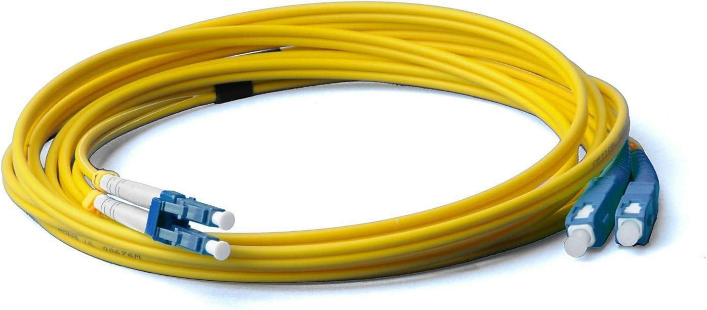 10 metros Duplex 9//125 Cable de fibra /óptica LWL fibra /óptica LC//UPC-SC//UPC 10 m OS2 amarillo