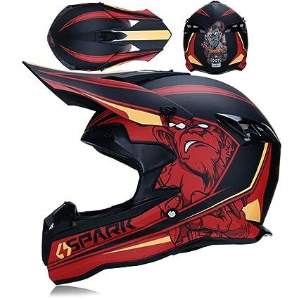Qianliuk Cascos de Moto de Cara Completa de Fibra de Carbono Cascos de Seguridad a Campo traviesa Hombres de Ciclismo