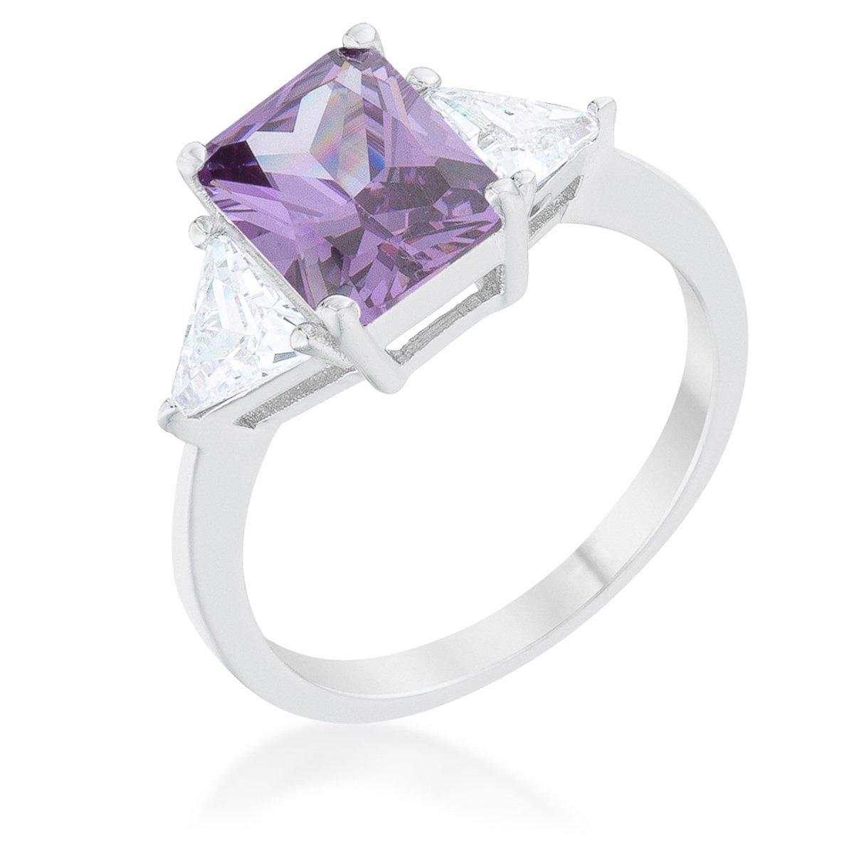 Covet Classic Amethyst Rhodium Plated Engagement Ring
