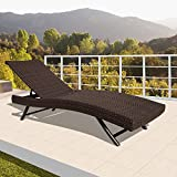 PATIOROMA Outdoor Adjustable Pool Rattan Chaise Lounge Chair with Steel Frame Patio Furniture, Espresso Brown PE Wicker