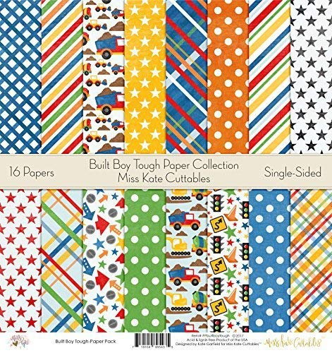 Pattern Paper Pack - Built Boy Tough - Scrapbook Premium Specialty Paper Single-Sided 12x12 Collection Includes 16 Sheets - by Miss Kate Cuttables