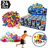 [24 Pack] Refill Kits of Latex Water Balloons Bomb - Summer Water Balloon Fight, Party Favors, Sports Fun for Kids & Adults - Multicolored with Nozzle & Carry Bag (1200 Count)