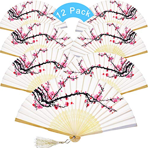 12 Pieces Hand Held Fans Silk Bamboo Folding Fans Flower Printed Fans Handheld Folded Dance Fans for Wedding Gift Party Favors (White Cherry) -