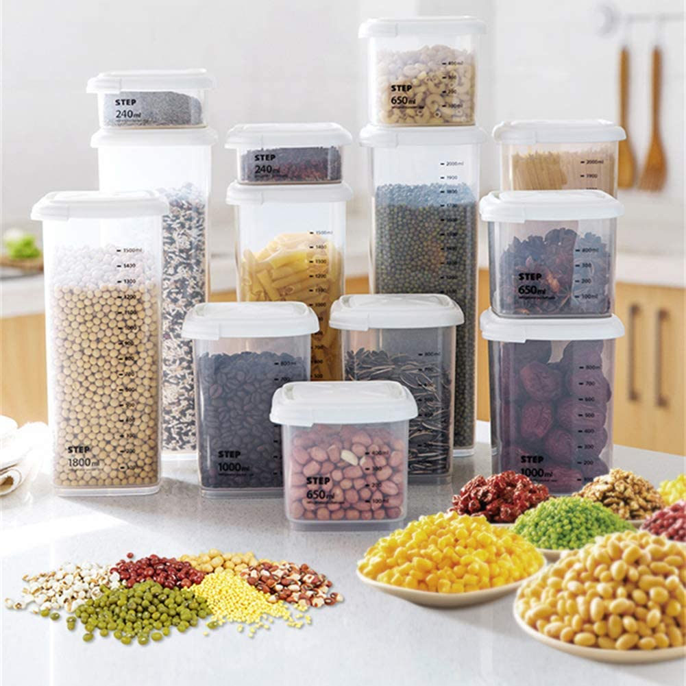 LOadSEcr Airtight Food Storage Containers, Transparent Kitchen Fridge Tea Bean Grain Storage Sealing Can Box Case Container for Kitchen Pantry Organization and Storage 240ml