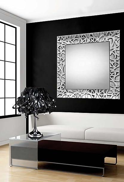 Espejos de Madera : Modelo ALGECIRAS Plata de 73x73cms.