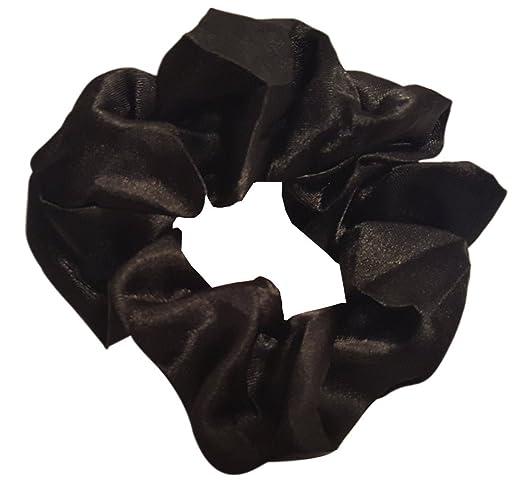 High Shine Black Satin Scrunchie Large Ponytail Holder Hair Tie